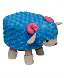 Vibgyor Vibes Wooden Stool With Sheep Shape Cover - Blue