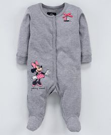 Tambourine Full Sleeves Minnie Mouse Print Sleep Suit - Grey