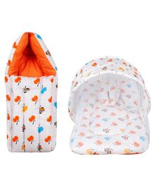 Little Hug Mattress Set With Mosquito Net & Sleeping Bag Combo - Orange
