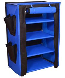 Fabura Multipurpose Rack With 4 Compartments & Cover - Royal Blue