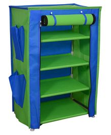 Fabura Multipurpose Rack With 4 Compartments & Cover - Green