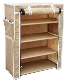 Fabura Multipurpose Rack With 4 Compartments & Cover - Beige