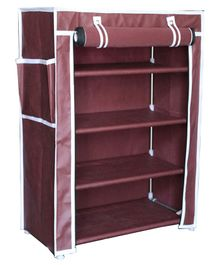 Fabura Multipurpose Rack With 4 Compartments & Cover - Maroon