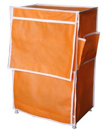 Fabura Multipurpose Rack With 4 Compartments & Cover - Light Orange