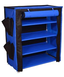 Fabura Multipurpose Rack With 4 Compartments And Cover - Black