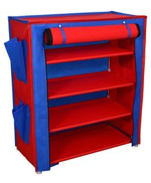 Fabura Multipurpose Rack With 4 Compartments And Cover - Red
