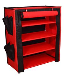Fabura Multipurpose Rack With 4 Compartments And Cover - Black Red