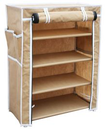 Fabura Multipurpose Rack With 4 Compartments And Cover - Beige