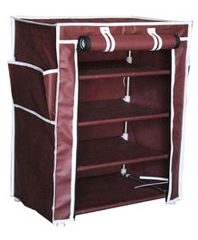 Fabura Multipurpose Rack With 4 Compartments And Cover - Maroon