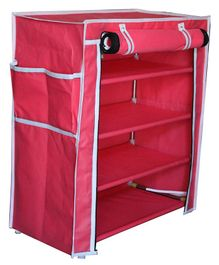 Fabura Multipurpose Rack With 4 Compartments And Cover - Pink