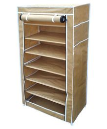 Fabura Multipurpose Rack With 7 Compartments And Cover - Beige