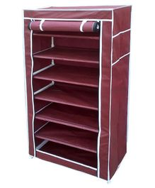 Fabura Multipurpose Rack With 7 Compartments And Cover - Maroon