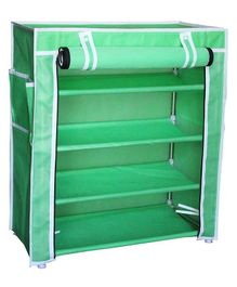 Fabura Multipurpose Rack With 4 Compartments And Cover - Green