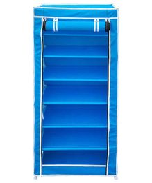 Fabura Multipurpose Rack With 7 Compartments And Cover - Blue