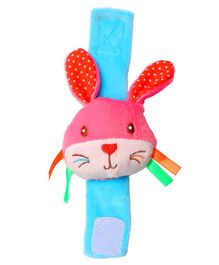 1st Step Rabbit Face Plush Wrist Rattle Toy - Pink