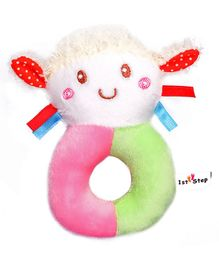 1st Step Doll Face Plush Ring Rattle Toy - Pink