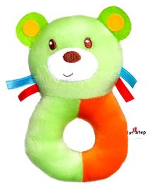 1st Step Dog Face Plush Ring Rattle Toy - Green