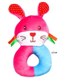1st Step Rabbit Face Plush Ring Rattle Toy - Pink