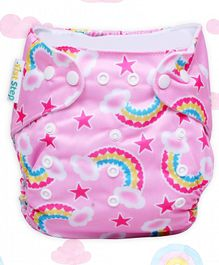 1st Step Adjustable Reusable Diaper With Diaper Liner Rainbow Print - Pink