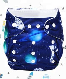 1st Step Adjustable Reusable Diaper With Diaper Liner Saturn Print - Blue