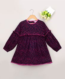 Budding Bees All Over Printed Full Sleeves Dress - Pink