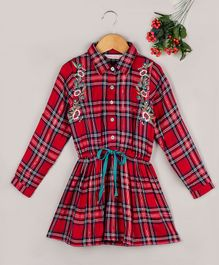 Budding Bees Checkered Full Sleeves Flower Embroidery Detailed Shirt Dress - Red