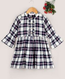 Budding Bees Checkered Full Sleeves Shirt Dress - Multi Colour