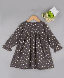 Budding Bees Gold Foil Animal Printed Full Sleeves Dress - Grey