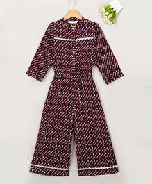 Budding Bees Printed Full Sleeves Jumpsuit - Multi Colour