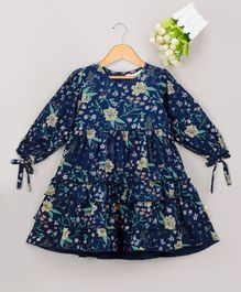Budding Bees All Over Floral Print Full Sleeves Ruffled Dress - Navy Blue