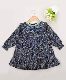 Budding Bees All Over Triangle Printed Full Sleeves Dress - Navy Blue