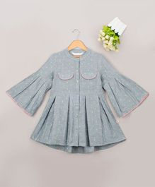 Budding Bees Ruffled Full Sleeves Dobby Embroidered Dress - Grey