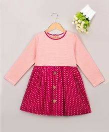 Budding Bees Striped Full Sleeves Dobby Dress - Pink