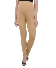 MomToBe Solid Full Length Maternity Leggings - Beige