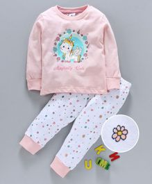 Ollypop Full Sleeves Tee And Lounge Pant Unicorn Print - Pink White