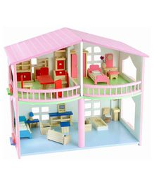 Webby Pretend Play Wooden Doll House with Miniature Furniture - Pink