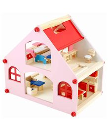 Webby Pretend Play Wooden Doll House with Furniture - Multicolor