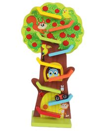 Webby Wooden Fruit Tree Sliding Vertical Track Set Toy with 3 Gliding Cars - Multicolor