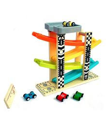 Webby Wooden Ramp Race Track Car Set Toy with 4 Cars - Multicolor