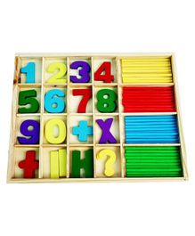 Webby Wooden Educational Maths Learning Toy With Countng Sticks - Multicolor