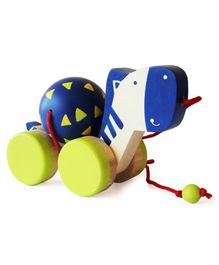 Shumee Wooden Zeebo The Zebra Pull Along Toy - Blue