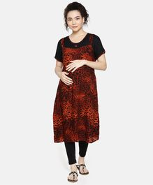 Goldstroms Leopard Printed Half Sleeves Maternity Kurti - Red