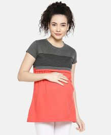 Goldstroms Striped Half Sleeves Maternity Top - Peach