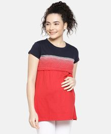 Goldstroms Striped Half Sleeves Maternity Top - Red