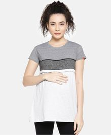 Goldstroms Striped Half Sleeves Maternity T-Shirt - Grey