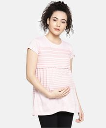 Goldstroms Striped Half Sleeves Maternity T-Shirt - Pink