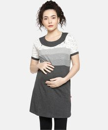 Goldstroms Half Sleeves Chest Striped Maternity Tunic - Grey