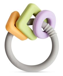 Little Rawr Geo Shape Ring Silicone Teether Toy - Multicolour