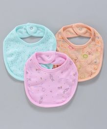 Zero Snap Button Closure Bibs Multi Print Pack of 3 - Orange Pink Blue