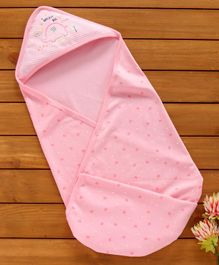 Zero Hooded Wrapper Elephant Print - Pink